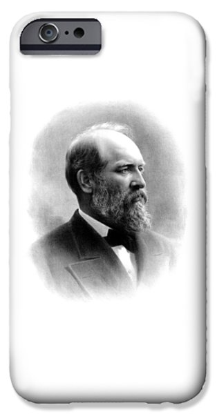 Americana Drawings iPhone Cases - President James Garfield iPhone Case by War Is Hell Store