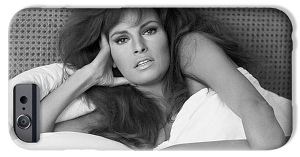 Black And White iPhone Cases - Raquel Welch iPhone Case by Terry O