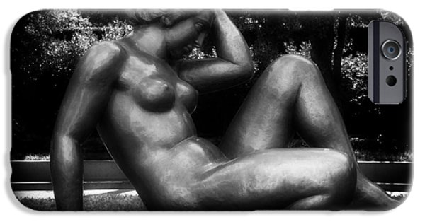 Outdoors Sculptures iPhone Cases - Reclining Nude Sculpture  iPhone Case by Mountain Dreams