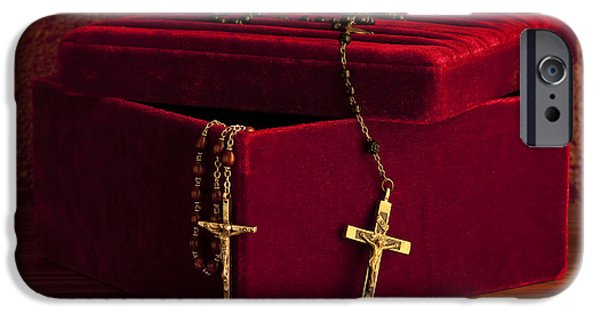 Innocence iPhone Cases - Red Velvet Box With Cross And Rosary iPhone Case by Jim Corwin