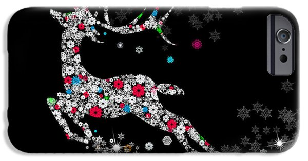 Christmas Mixed Media iPhone Cases - Reindeer design by snowflakes iPhone Case by Setsiri Silapasuwanchai