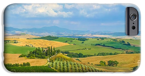 Tuscan Road iPhone Cases - Scenic Tuscany landscape at sunset, Val dOrcia, Italy iPhone Case by JR Photography