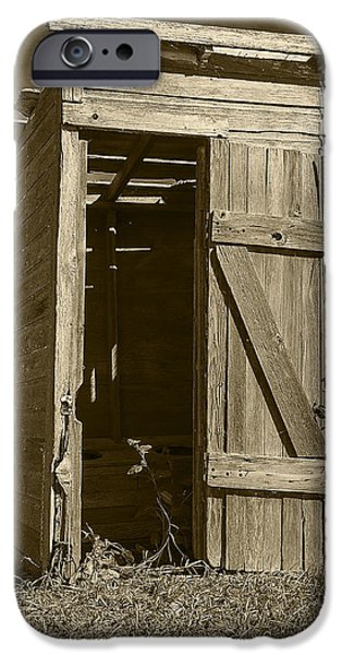 Rural Schools iPhone Cases - School Outhouse Toilet iPhone Case by Donald  Erickson