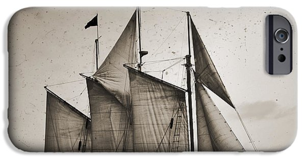 Tall Ship Digital Art iPhone Cases - Schooner Pride Tall Ship Charleston SC iPhone Case by Dustin K Ryan