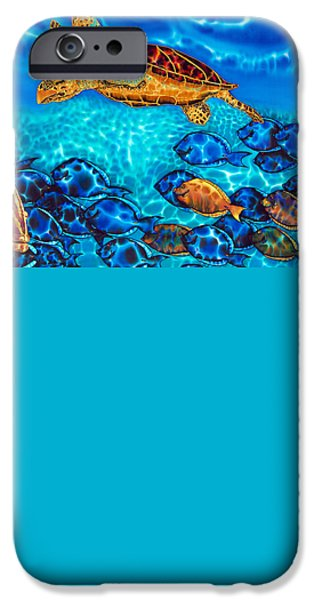 Sea Tapestries - Textiles iPhone Cases - Sea Turtle iPhone Case by Daniel Jean-Baptiste