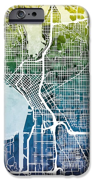 Recently Sold -  - United States iPhone Cases - Seattle Washington Street Map iPhone Case by Michael Tompsett