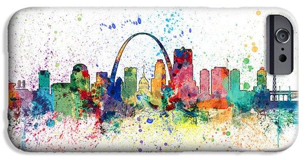 Missouri iPhone Cases - St Louis Missouri Skyline iPhone Case by Michael Tompsett