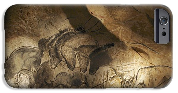 Fauna iPhone Cases - Stone-age Cave Paintings, Chauvet, France iPhone Case by Javier Truebamsf