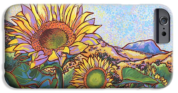 Nadi Spencer iPhone Cases - 3 Sunflowers iPhone Case by Nadi Spencer
