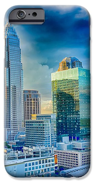 Business iPhone Cases - Sunset Over Charlotte City Skyline Of North Carolina iPhone Case by Alexandr Grichenko