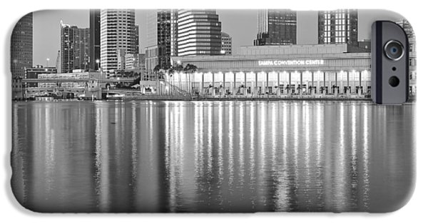 Buildings iPhone Cases - Tampa Bay Black and White iPhone Case by Frozen in Time Fine Art Photography