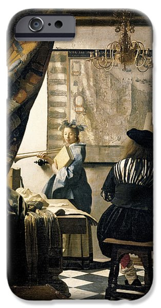 History iPhone Cases - The Artists Studio iPhone Case by Jan Vermeer