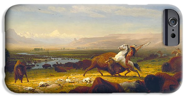 The Horse iPhone Cases - The Last of the Buffalo iPhone Case by Albert Bierstadt