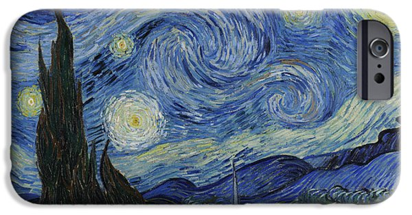 Moon iPhone Cases - The Starry Night iPhone Case by Vincent Van Gogh