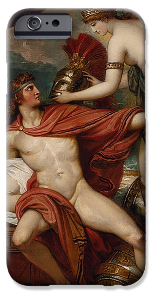 Goddess Mythology Paintings iPhone Cases - Thetis Bringing the Armor to Achilles iPhone Case by Benjamin West