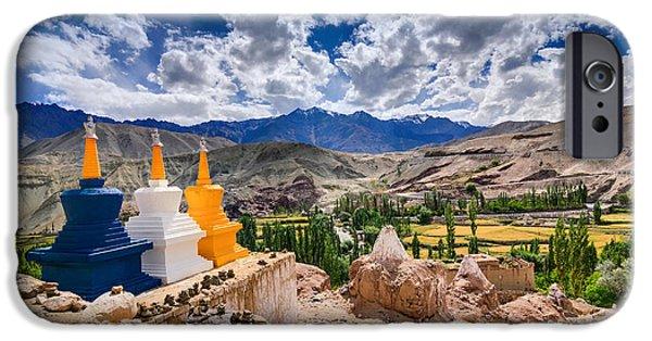 Tibetan Buddhism iPhone Cases - Three buddhist stupas at Leh Ladakh Jammu and Kashmir India iPhone Case by Rudra Narayan  Mitra