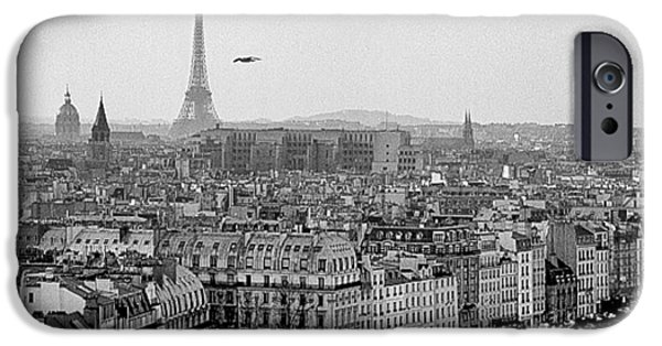 Monotone Pyrography iPhone Cases - Tour Eiffel. iPhone Case by Cyril Jayant