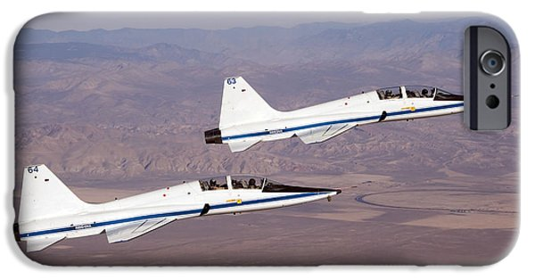 Aeronautics iPhone Cases - Two T-38a Mission Support Aircraft Fly iPhone Case by Stocktrek Images