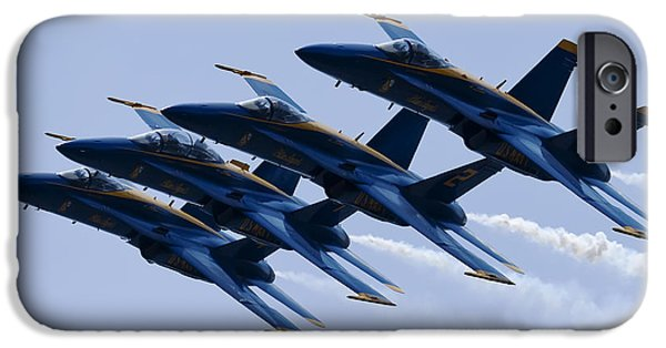 F-18 iPhone Cases - US Navy Blue Angels Poster iPhone Case by Dustin K Ryan