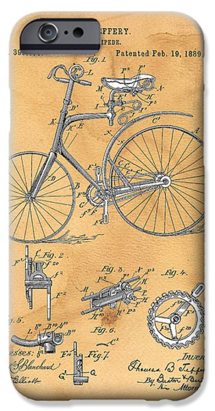 Suspension Drawings iPhone Cases - Velocipede iPhone Case by Ray Walsh