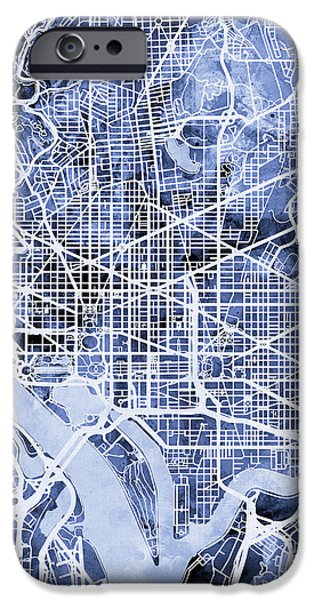 District Of Columbia iPhone Cases - Washington DC Street Map iPhone Case by Michael Tompsett