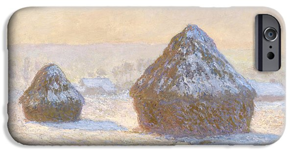 Winter Landscape Paintings iPhone Cases - Wheatstacks iPhone Case by Claude Monet