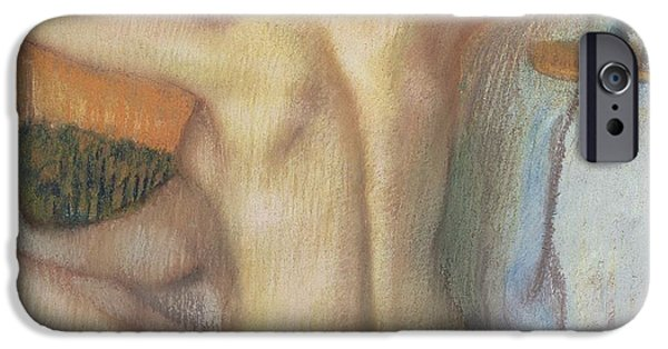 Lady Pastels iPhone Cases - Woman combing her hair iPhone Case by Edgar Degas