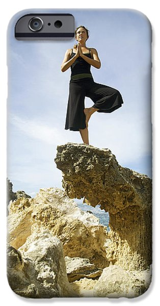 Woman doing yoga iPhone Case by Kicka Witte - Printscapes