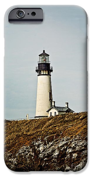 Lighthouse iPhone Cases - Yaquina Head Lighthouse iPhone Case by Scott Pellegrin