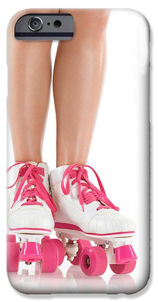 Young Woman Wearing Roller Derby Skates iPhone Case by Oleksiy Maksymenko
