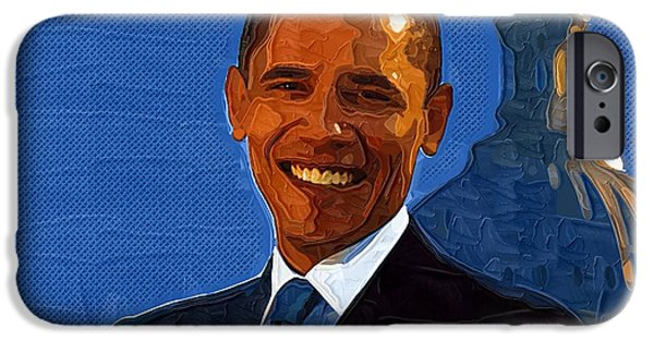 Barack Obama iPhone Cases - Barack Obama Portrait iPhone Case by Victor Gladkiy