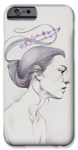 Hair Drawings iPhone Cases - 315 iPhone Case by Diego Fernandez