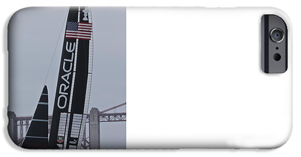 Sailboats iPhone Cases - Stars and Stripes Oracle  iPhone Case by Steven Lapkin