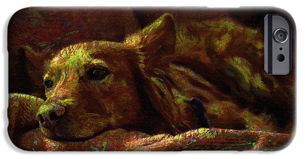 Dogs Digital Art iPhone Cases - Dog Portrait Art Print iPhone Case by Victor Gladkiy