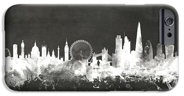 Board Digital Art iPhone Cases - London England Skyline iPhone Case by Michael Tompsett