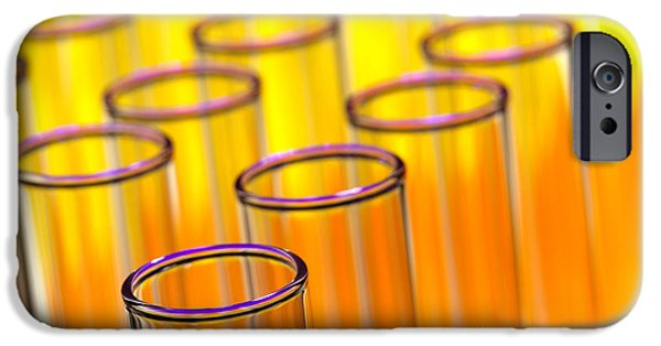 Empty iPhone Cases - Test Tubes in Science Research Lab iPhone Case by Olivier Le Queinec