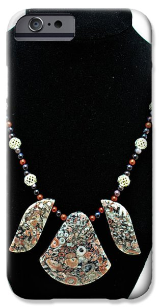 Sterling Silver iPhone Cases - 3521 Crinoid Fossil Jasper Necklace iPhone Case by Teresa Mucha