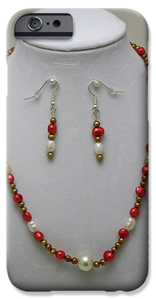 Handmade Jewelry Jewelry iPhone Cases - 3539 Pearl Necklace and Earring Set iPhone Case by Teresa Mucha