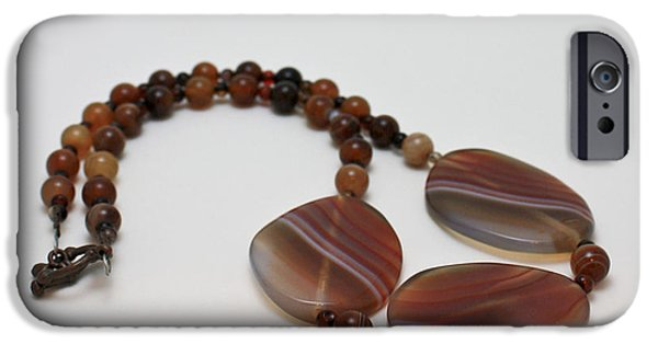 Stripes Jewelry iPhone Cases - 3543 Coffee Vein Agate Necklace iPhone Case by Teresa Mucha