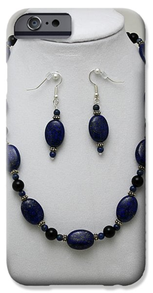 Transportation Jewelry iPhone Cases - 3555 Lapis Lazuli Necklace and Earring Set iPhone Case by Teresa Mucha
