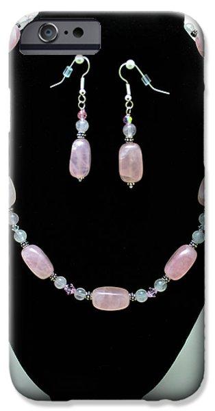 Little Jewelry iPhone Cases - 3558 Rose Quartz Set iPhone Case by Teresa Mucha