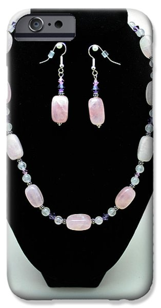 Little Jewelry iPhone Cases - 3560 Rose Quartz Necklace and Earrings Set iPhone Case by Teresa Mucha