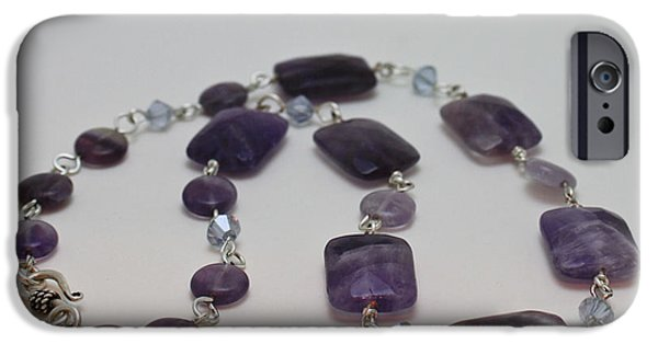 Handmade Jewelry Jewelry iPhone Cases - 3575 Amethyst Necklace iPhone Case by Teresa Mucha