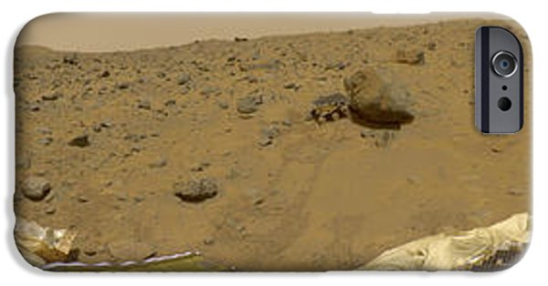 Jet Pyrography iPhone Cases - 360 Degree Panorama Mars Pathfinder Landing Site iPhone Case by Artistic Panda