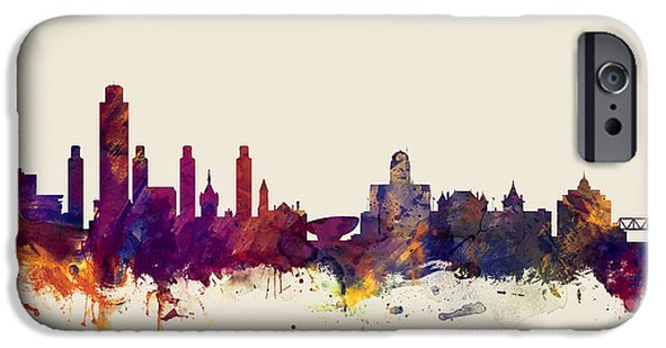 Albany iPhone Cases - Albany New York Skyline iPhone Case by Michael Tompsett