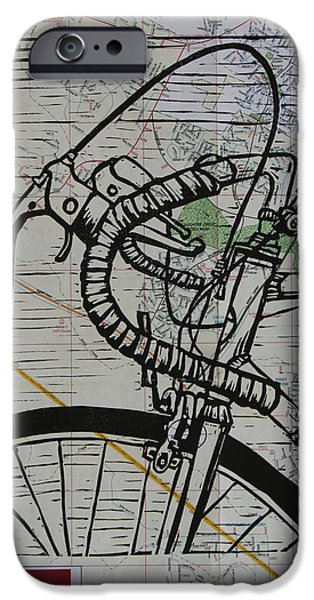 Lino Drawings iPhone Cases - Bike 2 on Map iPhone Case by William Cauthern