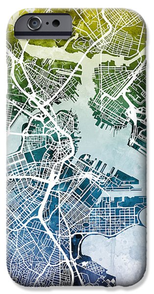 Recently Sold -  - City. Boston iPhone Cases - Boston Massachusetts Street Map iPhone Case by Michael Tompsett