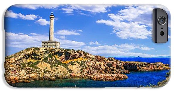 Lighthouse iPhone Cases - Cabo de Palos Lighthouse on La Manga in Murcia iPhone Case by Dragomir Nikolov