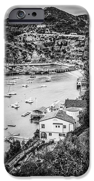 Pleasure iPhone Cases - Catalina Island Avalon Bay Black and White Photo iPhone Case by Paul Velgos