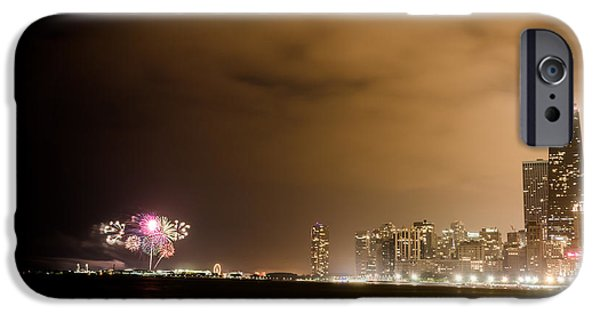 4th July iPhone Cases - Chicago Skyline Fireworks iPhone Case by Anthony Doudt